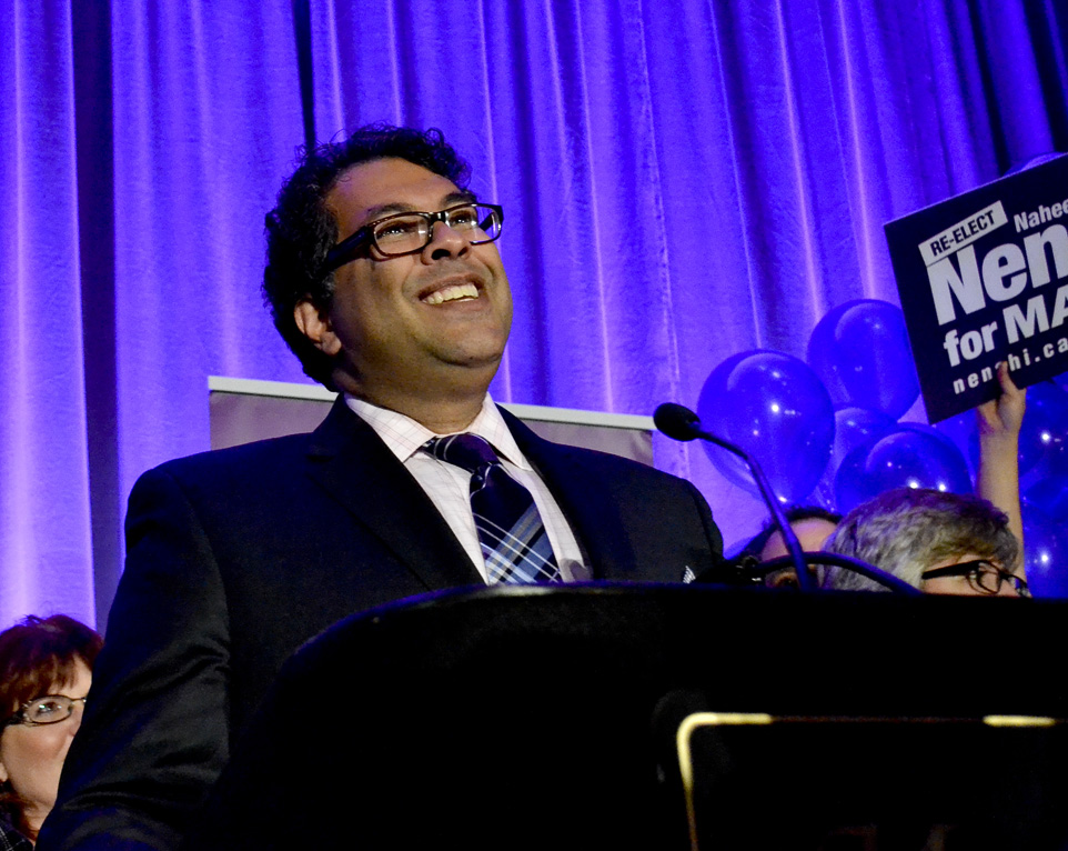 Nenshi back on top: Naheed Nenshi thanks the crowd for all the support