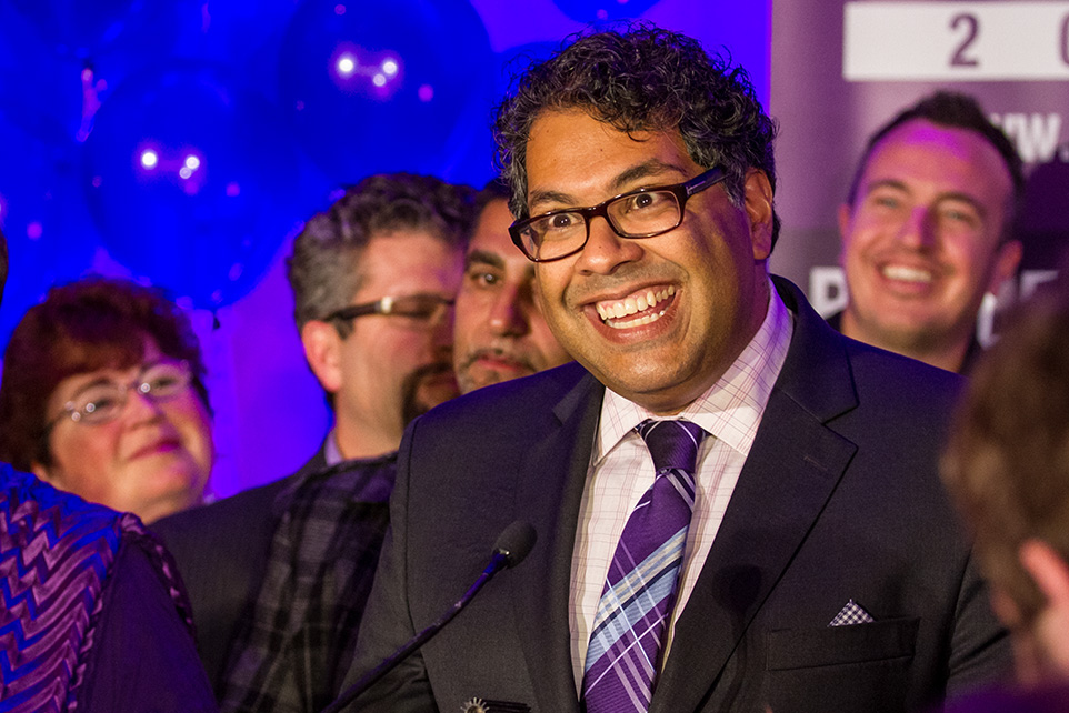 10:33 p.m.: Naheed Nenshi delivers an enthusiastic acceptance speech after being elected for a second term as Calgary's mayor. (Photo by Crystal Schick/The Press)