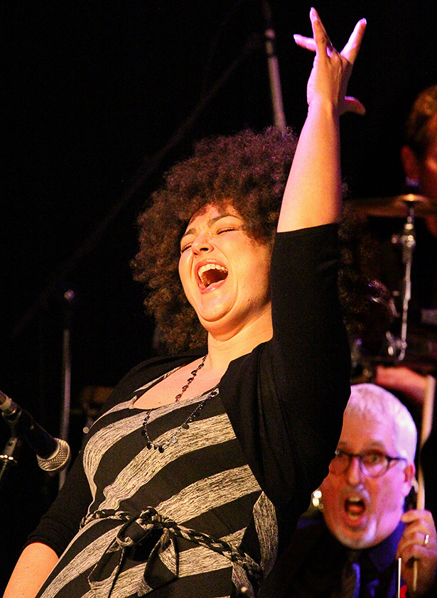 Lively: Prime Time Big Band's lead singer Deanne Matley belts out a song at the Ironwood Stage and Grill. (Photo by Sheldon Smith/The Press)
