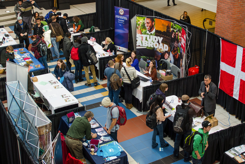 Next Steps: SAIT students check out their options for studying abroad during SAIT's Transfer Options Fair. (Photo by Erin Knutson/The Press)