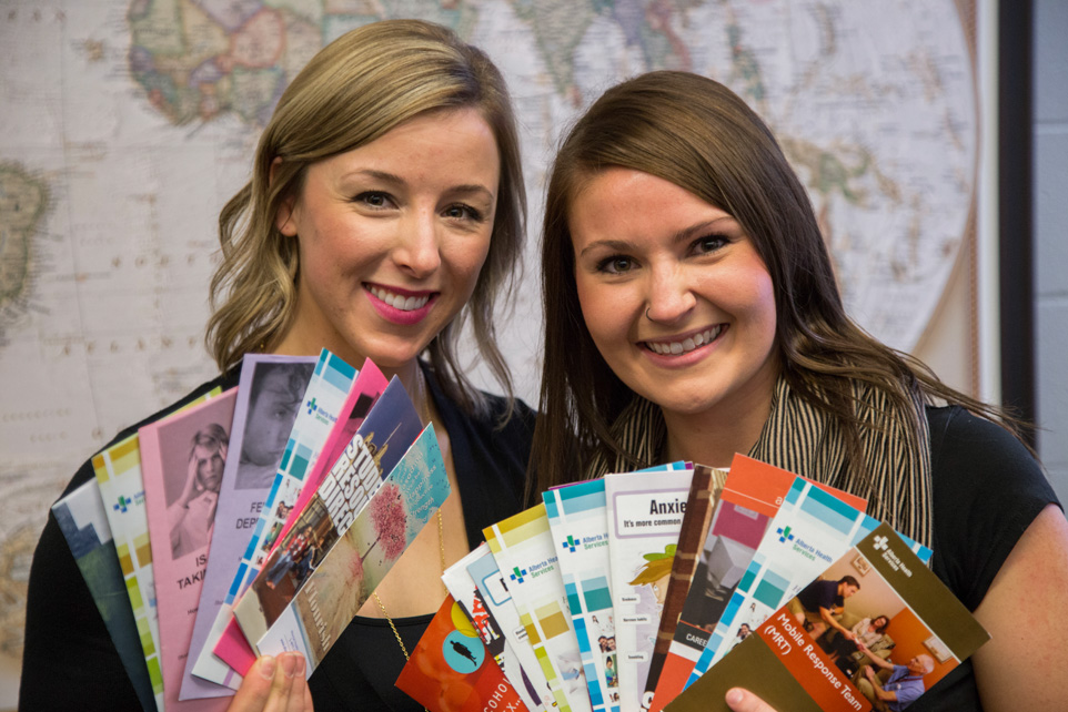 Ready to Help: SAITSA executive members Tegan Cochrane, left, and Amanda Hanna show off some of the pamphlets available in the new Student Support Centre. (Photo by Anthony Samson/The Press)