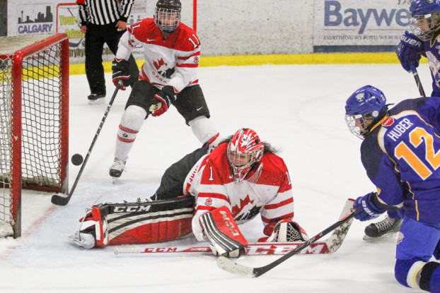 Golden Opportunity: Team Canada goaltender Shannon Szabados, centre, fends off a scoring attempt by Calgary Royals forward Carter Huber, right, during Midget Series action at Stu Peppard Arena in Calgary on Nov. 30. (Photo by Sheldon Smith/The Press)