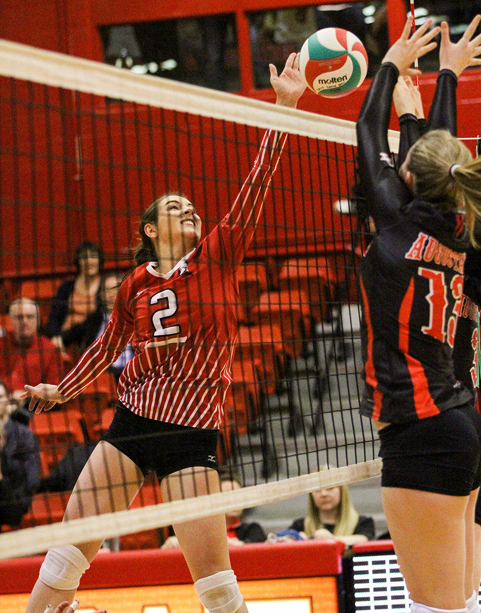 Spike: SAIT Trojans women's volleyball player Megan Brennan spikes the ball during a matchup against the Augustana Vikings at the Campus Centre gym at SAIT in Calgary on Friday, Jan. 10, 2014. The Trojans defeated the Vikings three sets to one.(Photo by Adelle Ellis/The Press)