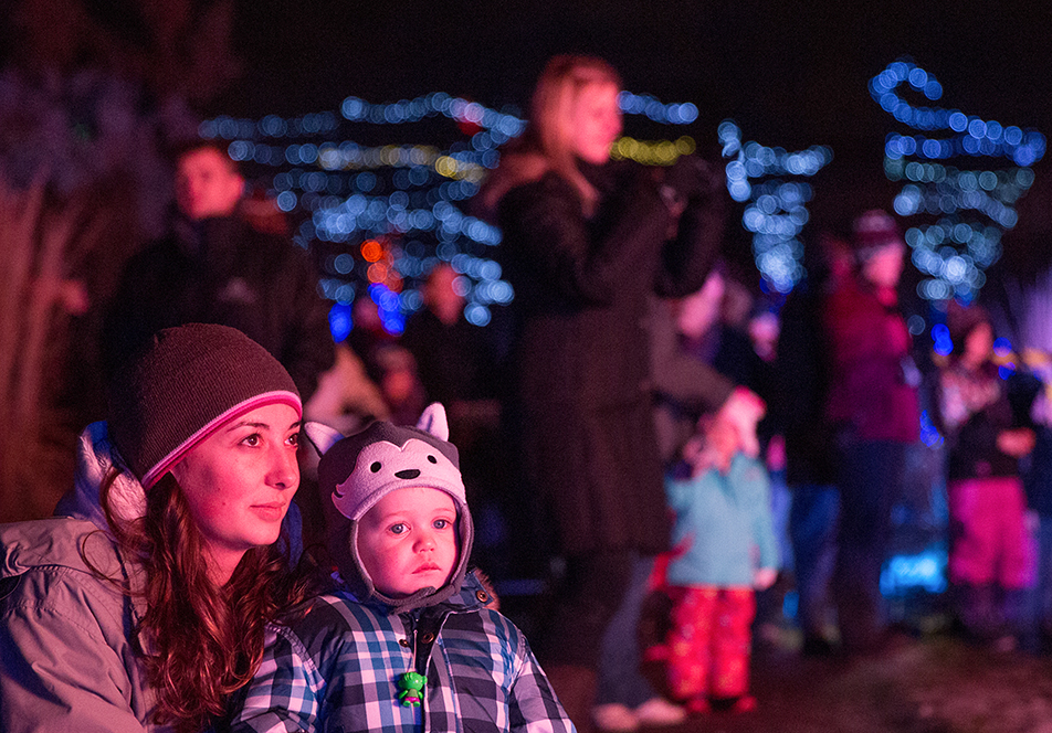 Christmas Dreams A mother and her daughter watch the interactive Santa Clause exhibit at the Calgary Zoo's Zoolights event on Friday, Nov. 29, 2013. The Calgary Zoo just re-opened after a prolonged partial closure due to the floods of July 2013. (Photo by Brent Calver/The Press)