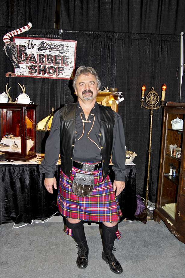 Welcome grooms: Hugh MacPherson stands at his  Avalanche Artisans booth, beside the grooms room at the Bridal Fair at BMO Centre on Jan. 26. Avalanche Artisans was only one of many booths geared towards grooms .(Photo by Alex Broger/SAIT Polytechnic)