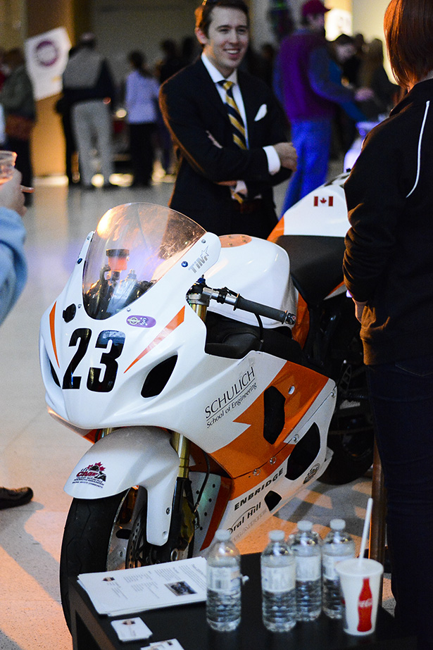 University of Calgary, Schulich School of Engineering, featured an innovative motorcycle at the event on Thursday, Sept. 11, 2014. Representatives talked about their technological advancements to Adults Only Night attendees. (Photo by Jaimee Turner/The Press)