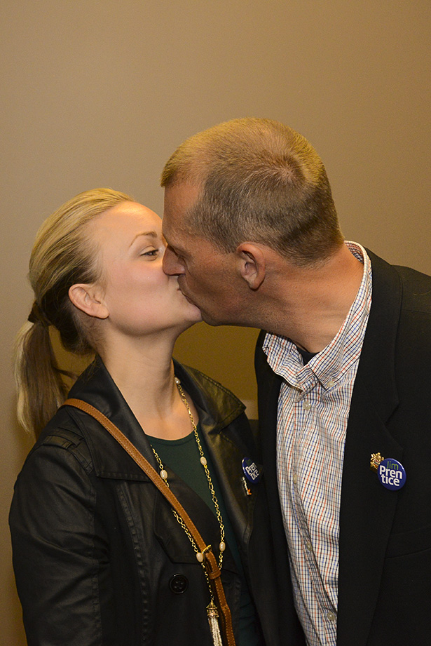 Victory for Ellis: Mike Ellis being congratulated by his wife Hollie after winning Calgary West by jusr over 300 votes. The Progressive Conservatives won all four of their ridings. (Photo by Kelsey Oster/The Press)