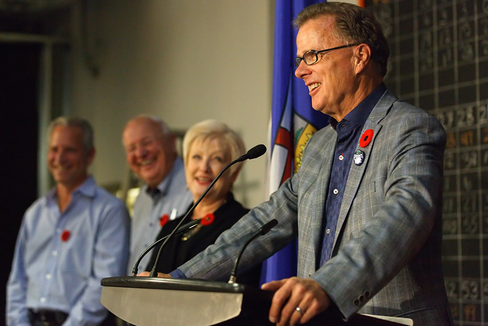 Victorious: Gordon Dirks, right, addresses supporters at his by-election headquarters in Calgary on Monday, Oct. 27, 2014. (Photo by Aryn Toombs/The Press)