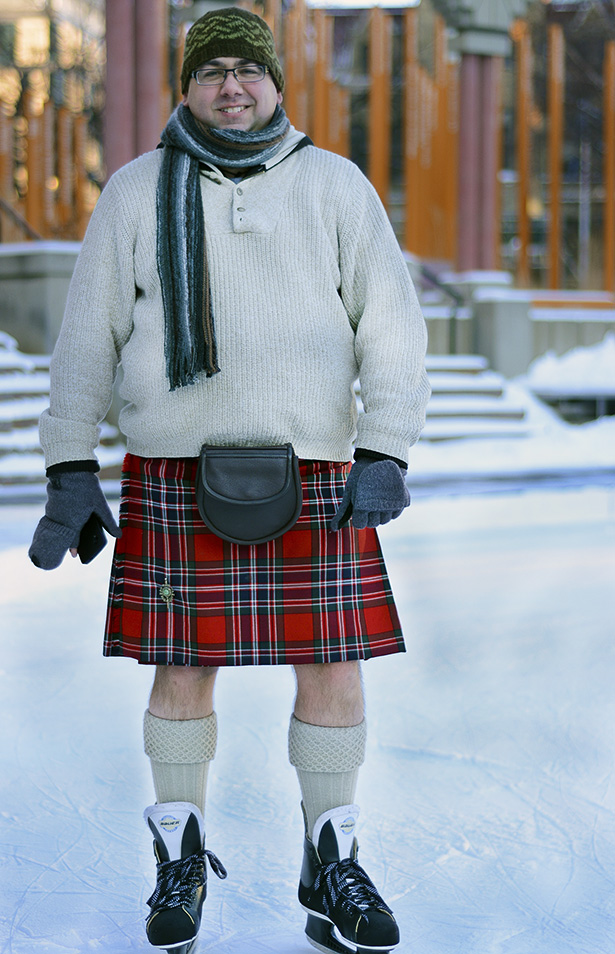 Braving the cold: Jason Lychak bares his knees in support of his Scottish heritage at the John A's Great Canadian Kilt Skate at Olympic Plaza in Calgary on Saturday, Jan. 31. The event, which was organized by the Optimist Clubs of Calgary and High River, celebrates both the 200th birthday of Sir John A Macdonald and the uniqueness of Scottish-Canadian heritage. (Photo by Angela Brown/The Press)