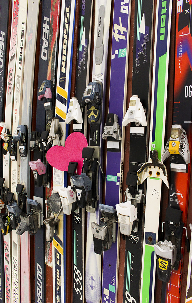 Ready for Love: Some different skis ready to be used this Valentine's Day for Lifts of Love in Calgary on Thursday, Feb. 5, 2015. The variety of skis is just a mere representation on the different people you can meet on the hill this Valentine's day.(Photo by Megan Brennan/The Press)