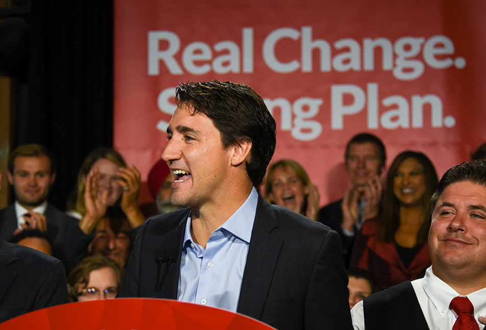 Liberal Support: Federal Liberal leader Justin Trudeau speaks to supporters at a campaign event at the Simmons Building in Calgary on Wednesday, Sept. 16, 2015. Trudeau was in town for the federal leaders debate on the economy. (Photo by Victoria Vadeboncoeur/SAIT Polytechnic)