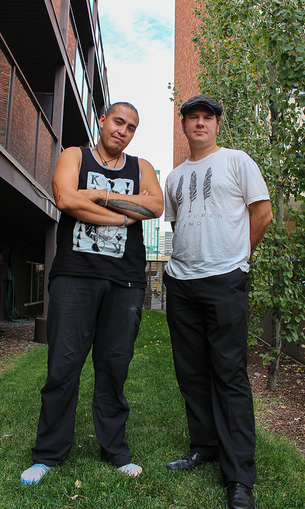 Fractured Land: Caleb Behn (left) and Damien Gillis are in Calgary for a showing of their documentary, Fractured Land, which was showcased during the Calgary International Film Festival. (Photo by Stephanie Joe/The Press)