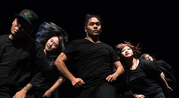 Krumping as one:Patrick DeGuzman, left, Alyce Cho, Derrick Fong, Marose Dalida, and Vienna Possemato, members of the dance crew the Tomorrows, perform a piece during Fifty Hype!. Hosted by Oliver Reyes, co-founder of Empirical Freedom and Mpact Movement, Fifty Hype! was held at the Big Secret Theatre as part of Letters: Thriving Through Connection. (Photo by Nikki Celis/The Press)