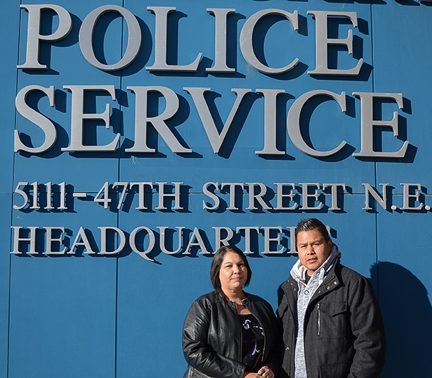 Aboriginal Focus: Constable Jeremiah Stump and Youth Justice Social Worker Wanda Hennigan outside of Calgary Police Headquarters on Tuesday, Oct. 27. The partners make up the Aboriginal Youth At Risk Team. (Photo by Lambie J. Carruthers/The Press)