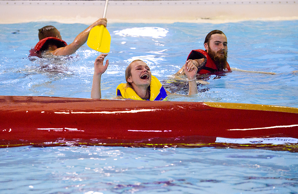 Water Battle: Nicole Smith cries out after her team is sunk during the H20 Battleship championship at the Aquatic Centre in SAIT's Campus Centre. (Photo by Andy Maxwell Mawji/The Press)