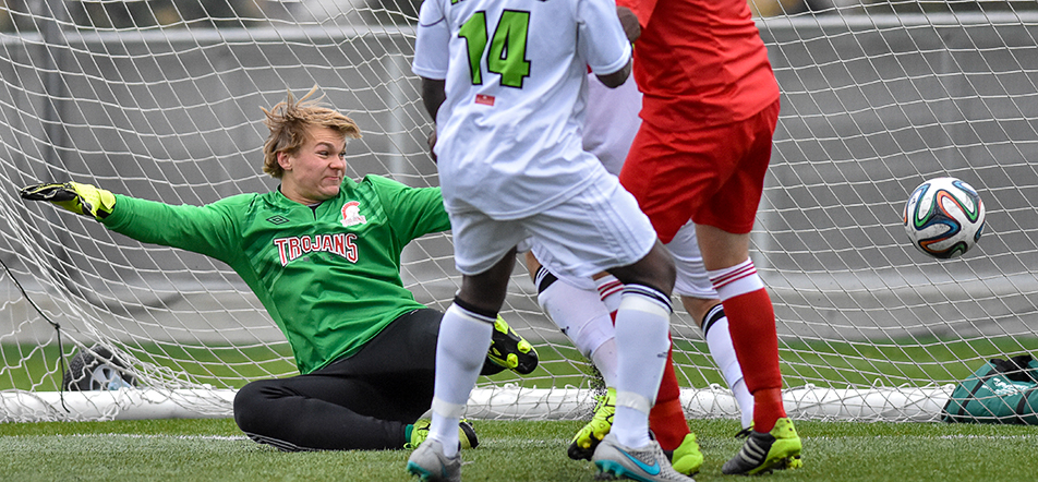 Tough Goal: Trojan's goalkeeper Shanon Cameron lets in a goal during ACAC men's soccer action against the Red Deer Kings at Cohos Commons Field on SAIT campus. The Trojans Kings by a score of 6-3. (Photo by Andy Maxwell Mawji/The Press)