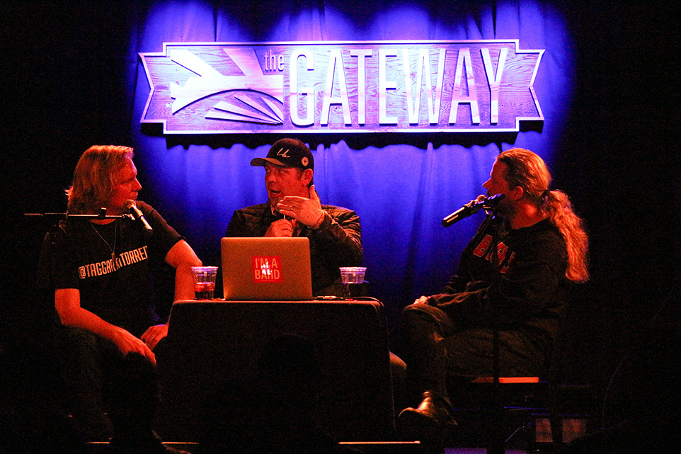 LORD STANLEY: Jonathan Torrens, left and Jeremy Taggart, right are joined by Former Calgary Flame Theo Fleury on stage during their November 19th show. Fleury talked about playing in the NHL, hoisting the Stanley Cup as well as the battles he faced on and off the ice. (Photo by Zach Laing)