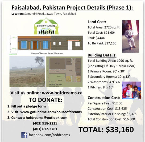 In Progress: Project details of the Faisalabad Orphanage that is currently undergoing phase 1 and how to donate. (Photo courtesy of House Of Dreams)