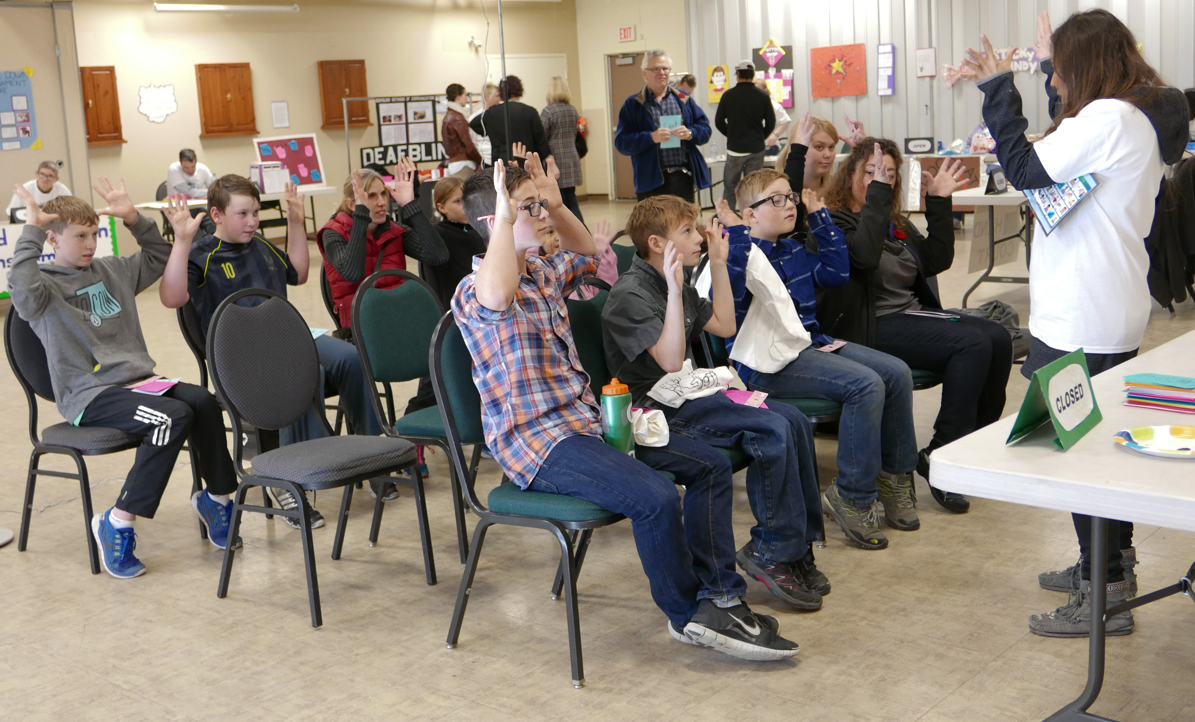 "HillHurst Sunnyside Community Association in Calgary on Saturday, Nov. 7, 2015. participants for the ""Deaf Deaf World"" event are asked to complete a basic sign language class before the experience. (Photo by Colin Leung/The Press)"