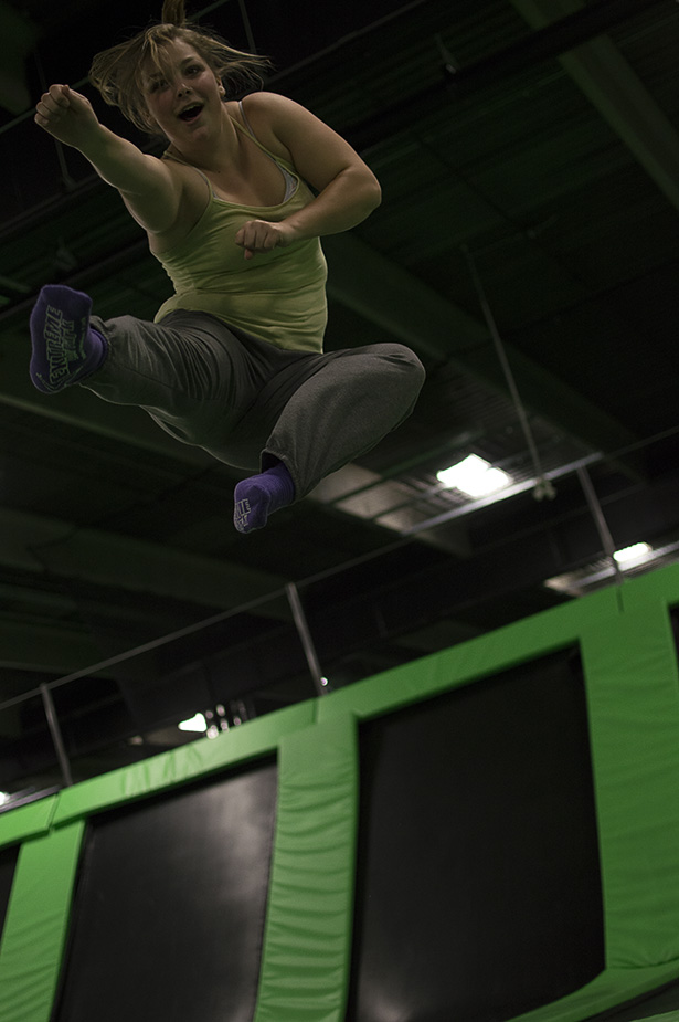 Head in the Clouds: Jordan Johnston shows off her moves at the Calgary Jump Park. The park is the biggest facility in North America. (Photo by Jessica Phillips/The Press)