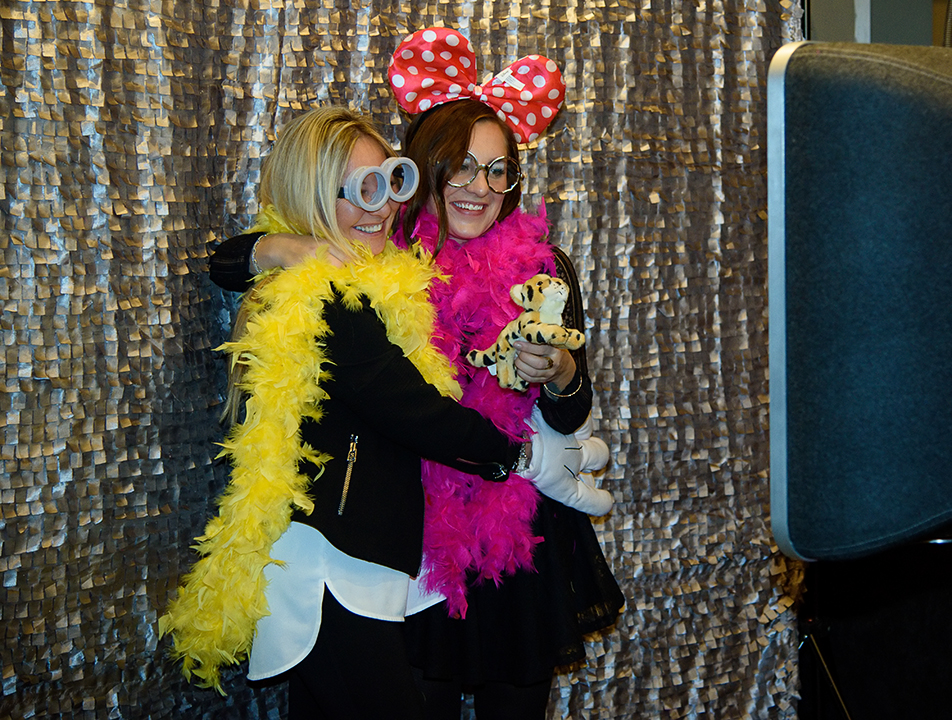 "Fun Night: Karen Motyka, left, and her daughter Stephanie Motyka pose for a series of portraits at a ""Silly Booth"" at the Cocktails for Critters fundraiser at Hotel Arts in Calgary on Friday, Nov. 6, 2015. The event, which featured a people-and-pooch fashion show and silent auction, was put on by the Calgary Humane Society. (Photo by Brooke Hovey/The Press)"
