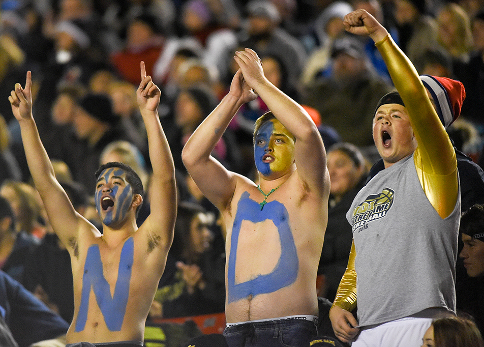 Crazy Fans: Notre Dame Pride fans celebrate a touchdown during division 1 senior high school city championships against the St. Francis Browns at McMahon Stadium in Calgary on Saturday, Nov. 7, 2015. St. Francis won 31-21. (Photo by Elizabeth Merritt/The Press)