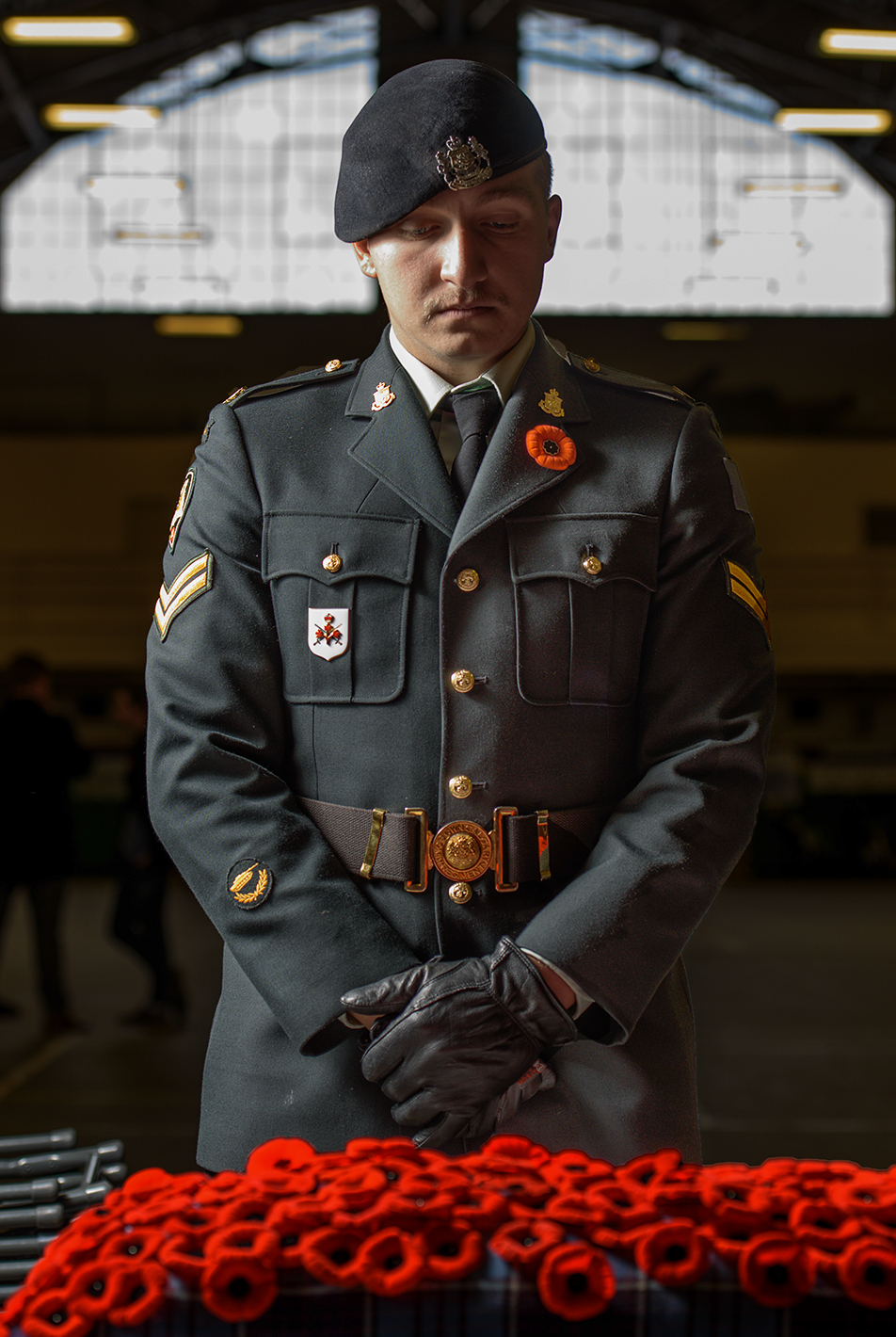 Paying Tribute: Cpl. Cyrus Thunderchild, a member of the Canadian armed forces poses for a portrait at Mewata Armoury in Calgary on Wednesday, Nov. 11, 2015. Thunderchild joined the army when he was 16 and still going to high school. One day he plans to serve overseas. (Photo by Kenneth Appleby/The Press)