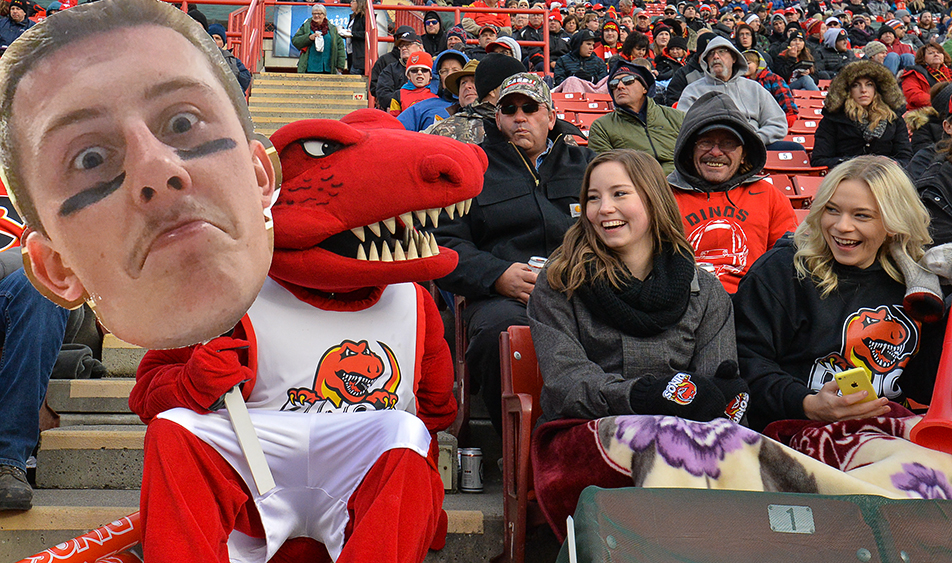 Rex's Buddy: The U of C Dinos's mascot Rex OÕSaurus holds up the face of Dinos's quarterback Andrew Buckley during the 79th Hardy Cup against the UBC Thunderbirds at McMahon Stadium on Saturday, Nov. 14, 2015. The UBC Thunderbirds took the game 34-26. (Photo by Andy Maxwell Mawji/The Press)