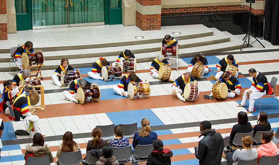 International Awareness: Korean drummers bow at the end of their performance during International Education Week at the Stan Grad Centre at SAIT on Tuesday, Nov. 17, 2015. The week is dedicated to educating students on the different cultures on campus. (Photo by Liam Quinn/The Press)