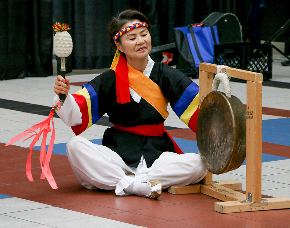 International Awareness: Korean drummers perform at the International Education Week in Stan Grad Centre on the SAIT Polytechnic campus in Calgary on Tuesday, Nov. 17, 2015. The week is observed by over 100 countries around the world.(Photo by Sydney Elton/The Press)