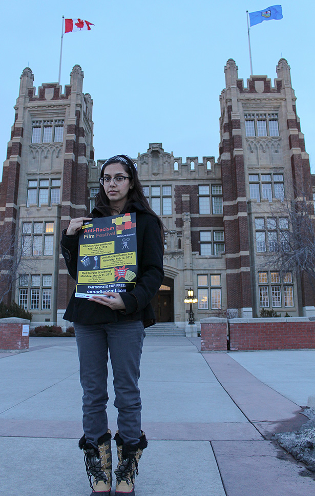 Fight Racism: Iman Bukhari poses outside of SAIT's Heritage Hall building to promote the 48-hour Anti-Racism Film Festival. (Photo by Stephanie Joe /The Press)