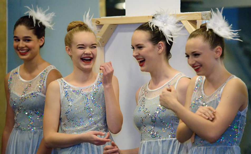 "All Grins: ""Snowflakes"" socialize before beginning a dress rehearsal at Absolute Dance in the Dalhousie area in Calgary on Friday, Nov. 27, 2015. (Photo by Brooke Hovey/The Press)"