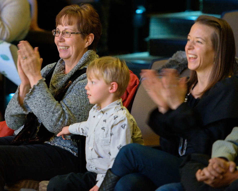 Family Fans: Family members celebrate the end of the last ballet performance 'Frozen' presented by Absolute Dance at the Wright Theatre on Mount Royal University campus in Calgary on Sunday, Nov. 29, 2015.(Photo by Brooke Hovey/The Press)