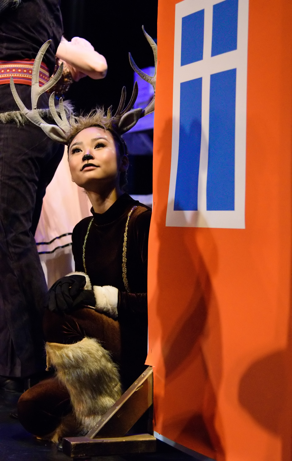 Not Rudolph: Stephanie Rha plays the reindeer Sven in the ballet performance 'Frozen' presented by Absolute Dance at the Wright Theatre on Mount Royal University campus in Calgary on Sunday, Nov. 29, 2015. (Photo by Brooke Hovey/The Press)