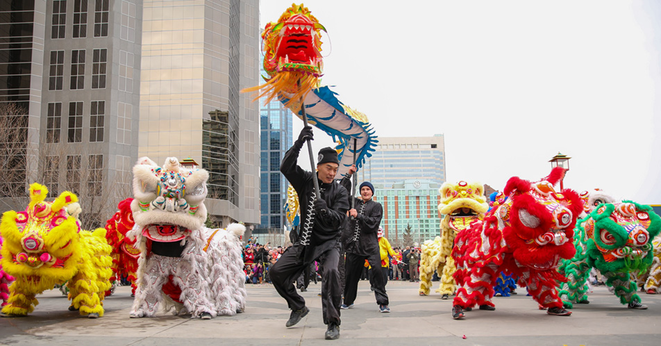 On display:Lion dancers perform.(Photo by Liam Quinn/The Press)