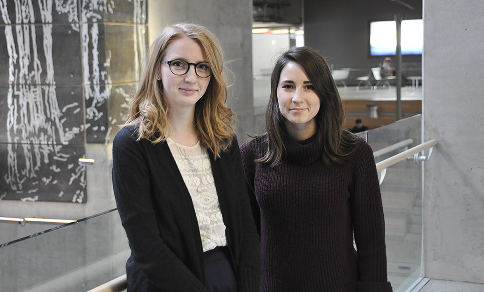 "Engaged: University of Calgary students Elizabeth Ring, 20, and Ana Tanase, 21, spoke to The Press about their thoughts on the sensational internet personality behind the ""Return of Kings"" movement, and how the group's controversial ideas have sparked a dialogue on campuses across the country. Ring (left) and Tanase (right) are pictured here on the University of Calgary campus on Feb. 10, 2016. (Photo by Matthew Bardsley/The Press)"