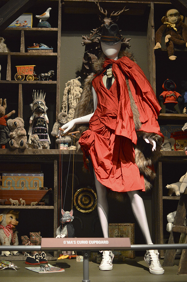 "Little Red Riding Hood with a twist: ""G'Ma's Curio Cupboard"" display at the Kaleidoscopic Animalia Exhibit by Cagary Fashion Designer, Paul Hardy at the Glenbow Museum in Calgary (Photo by Zienab Hamdan/The Press)"