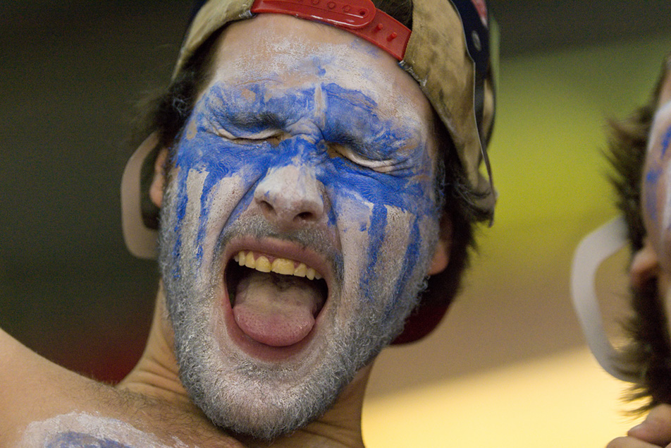 Battle Cry: Mount Royal University Cougars fan Jacob Davie screams his support during the physical game against the University of Calgary Dinos. (Photo by Andy Maxwell Mawji/The Press)