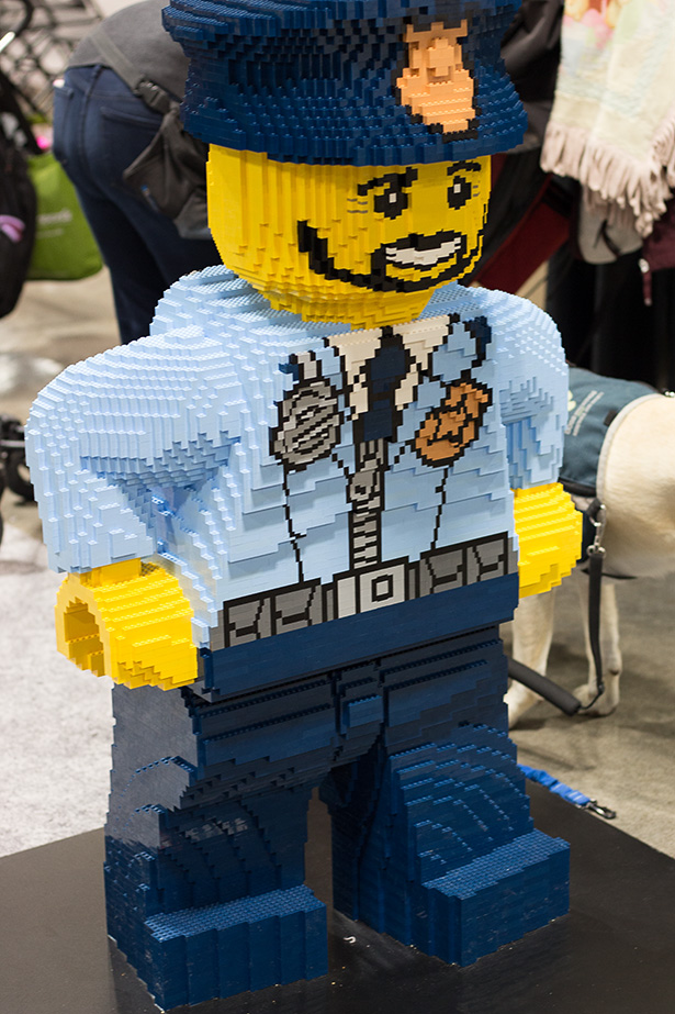 A police man made out of LEGO at the LEGO Imagine Nation Tour in Calgary on Sunday, Sept. 11, 2016. The LEGO Imagine Nation Tour is a cross country event offering building pits and building labs. (Photo by Abby Sletten/The Press)