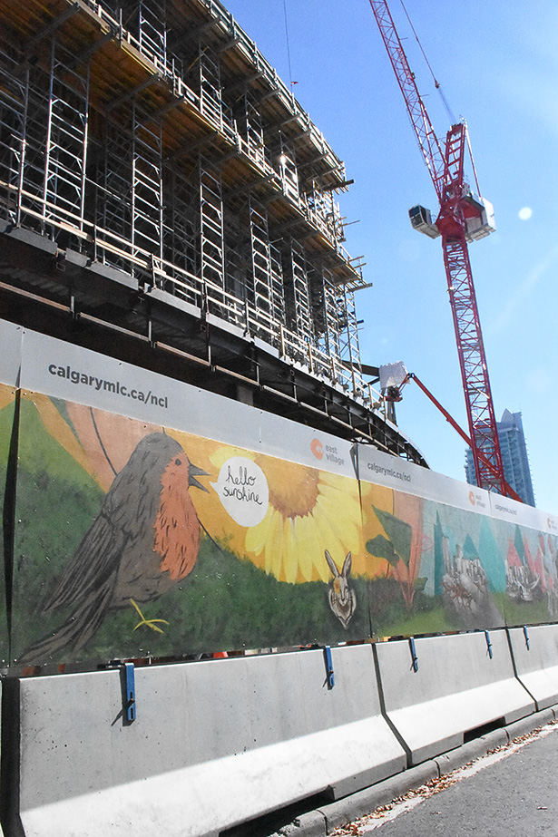 A portion of the mural titled, Returning to Cultural Basics, in Calgary on Friday, Sept. 23, 2016. Kai and Ricole Cabodyna designed and created the mural surrounding the construction zone of the new Central Library. (Photo by Foster Modesette/The Press)