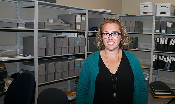 History Buff:Karly Sawatzky, SAIT's Archivist, stands in her back office located in the Reg Erhardt Library on SAIT's campus in Calgary on Monday, Sept. 26, 2016. Karly has a vast knowledge of SAIT's history, along with access to SAIT's archives, which include original photographs and old copies of the school newspaper, The Weal. (Photo by Mitch Sparks/The Press)