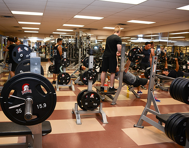 Calm Before The Storm: Students and staff work out at the SAIT weight room during a rare non-peak time on Monday, Sept. 26, 2016. (Photo by Zenna Wilberg /The Press)
