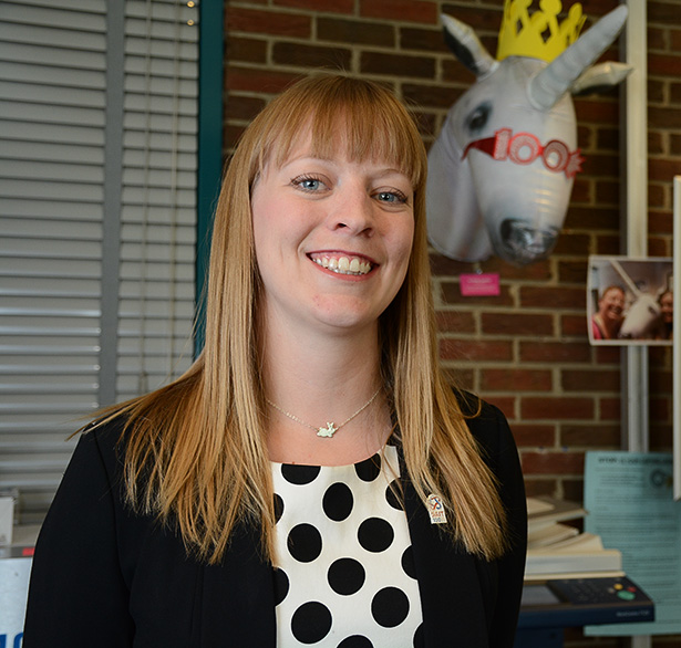 Partying Unicorn: Events and communications generalist of SAIT's Centennial Project Carmen Neville poses in a selfie for the SAIT 100 Photo Mosaic at her SAIT Centennial office in Calgary on Tuesday, Sept. 27, 2016. The unicorn behind her is the SAIT 100 office mascot, Sir Philip Sparkles. (Photo by Jolisa Tweedie/The Press)