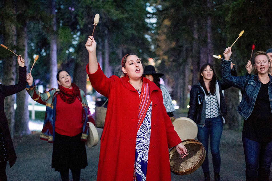 Equinox Vigil: Chantal Chagnon leads the lantern procession during the Equinox Vigil in Calgary's Union Cemetery. Chagnon led a traditional song from the Muskeg Lake Cree Nation about death and mourning. (Photo by Ashley Orzel/The Press)