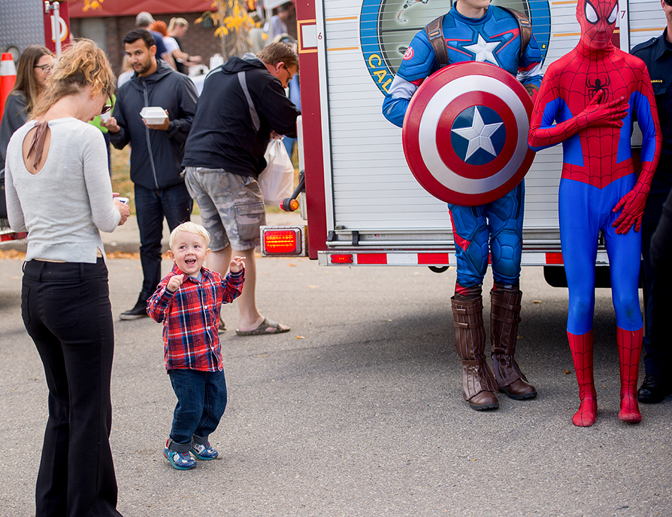 Super Heros: A child is excited to see his superheroes during the 18th annual Calgary Greek Festival at the Hellenic Community Centre. The superheroes were entertaining children during the family-friendly festival that marks the changing of the seasons in the Greek community. (Photo by Ashley Orzel/The Press)