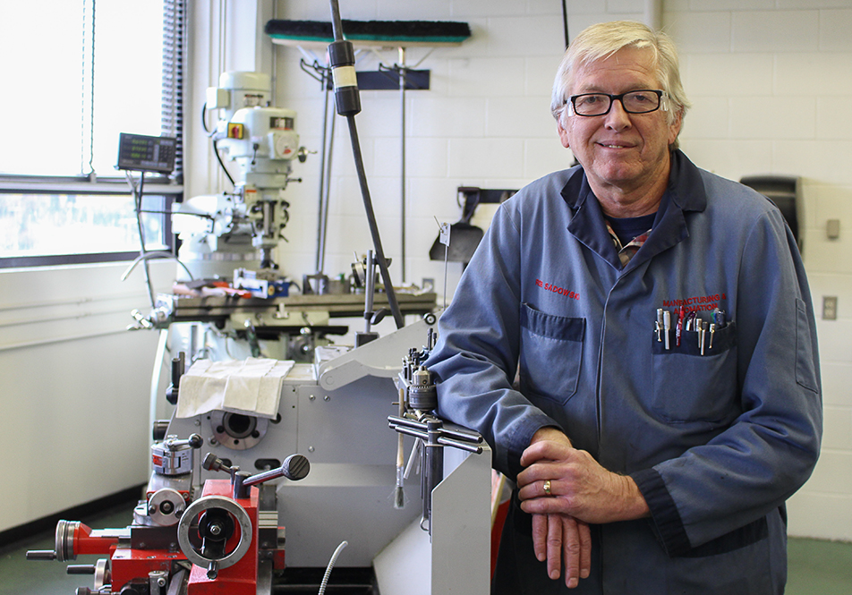 Machinist in Shop: Rob Sadowski of SAIT's School of Manufacturing and Automation poses for a portrait in his shop just before SAIT's upcoming 100th birthday. SAIT 100 is a celebration of the polytechnic's century-marking anniversary. (Photo by Shane Weaver/The Press)