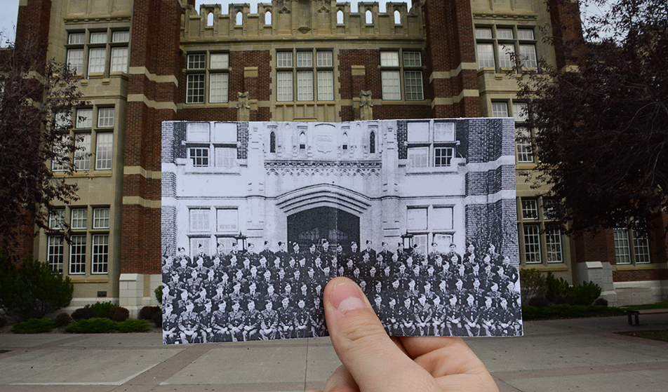 Class of '43: A photo taken sometime in 1943 of SAIT's instructors, officers, and trainees of the No. 2 wireless training school outside of Heritage Hall. (Photo by Lucas Lyons/SAIT Polytechnic)