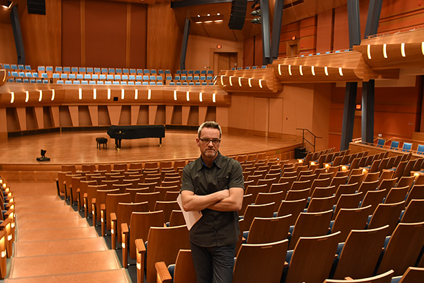 Artistic Program Coordinator: Mark DeJong poses for a photo in the Bella Concert Hall,Taylor Centre for the Performing Arts at Mount Royal University in Calgary, on Nov. 25, 2016. The Music To Your Ears concert series featured Chris Hadfield on Nov. 26, 2016. (Photo by Mohamed Gandour/The Press)