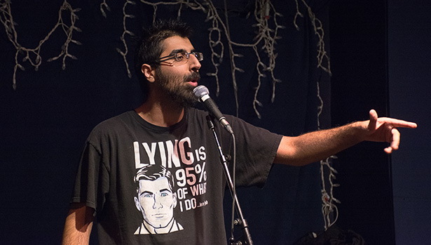 Slamming Some Rhymes:Shafraz Ladak wins the slam in Wine-Ohs bar and in Calgary on Monday, Nov. 28, 2016. Ladak turned to poetry in hopes to straighten himself out after spending some time in prison in 2014 and has successfully made a difference since he started writing poetry. (Photo by Sareenah Singh/The Press)